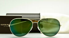 OLIVER PEOPLES SAYER OV1201S 50356R Gold-Green Mirror 63mm Large Pilot NEW
