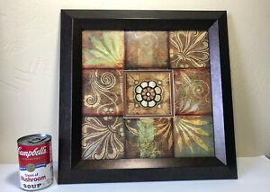 RETRO Botanical Matted Framed Wall Art Home Decor Earthtones Beveled Art Design