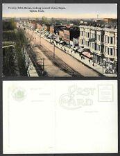 Old Utah Postcard - Ogden - Twenty-Fifth Street Scene, Looking to Union Depot