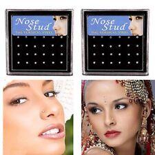 12Pair 1 Set Crystal Stainless Steel Nose Stud Ring Hoop Body Piercing Jewelry