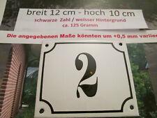 Hausnummer Emaille Nr. 2 schwarze Zahl auf weißem Hintergrund 12 cm x 10 cm