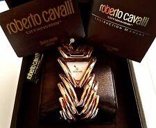 ~STUNNING New Roberto Cavalli Ladies Gold Link Fashion WATCH Cuff Style BRACELET