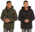 Nuevo para hombre chaqueta parka abrigo medio Capucha MAC negro Talla S M L XL
