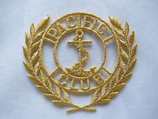 2214S Gold Marine Anchor,PACIFIC CLUB word Embroidery Iron On Applique Patch