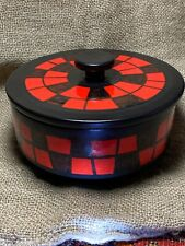 MCM ELCHINGER France Glossy Red/Black Ceramic Art Bowl with Lid; signed - RARE