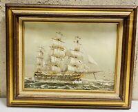 "Vintage Vaseo Maritime Oil Painting Art Framed Boats Ships Sails 21.75"" x 17.75"""