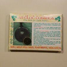 Irish Kilkenny Black Marble An Cloc Cosanta Lucky Necklace-Leather Cord Nib