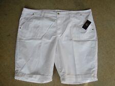 "BERMUDA W Roll Cuff, ""CUTE"" 5 Pocket Design~by Gloria V~Size 22 W~SR $46~White"