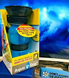 Aqua Dog Pet Travel Water Bottle Blue Walking Hiking Travel Emergency ~ NEW