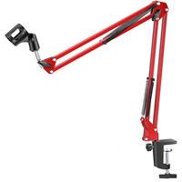 5 Core Adjustable Flexible Microphone Suspension Boom Scissor Arm Stand RED