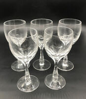 5 Antique Josephinenhutte Josair Germany Silhouette Cut Wine Glasses Bubble Stem