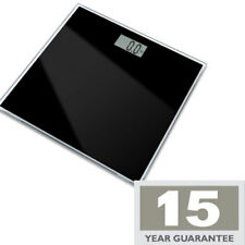 ELECTRONIC BLACK GLASS BATHROOM SCALES DIGITAL LCD DISPLAY 15 YEAR WARRANTY