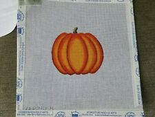 """Ann Wheat Pace """"Pumpkin"""" Hand Painted Needlepoint Canvas w/Stitch Guide"""