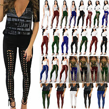 Women's Slim Fit Legging Pencil Pants High Waist Skinny Bandage Lace Up Trousers