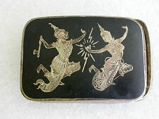 Vintage Rare Heavy Sterling Siam Silver Belt Buckle . Pair of Dancers !