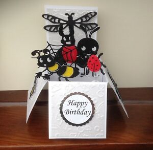 Ladybird,caterpillar, Dragon Fly & Bugs Themed  pop up Greetings card/birthday