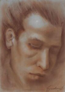 original drawing A3 91KrV art samovar modern pastel male portrait Signed 2021