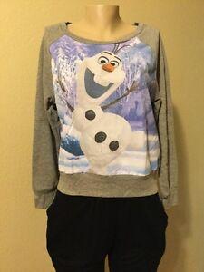 Disney Frozen OLAF gray long sleeve lightweight sweatshirt JUNIOR size XL