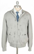 New GRAN SASSO Italy Grey Flower Cotton Full Zip Sweater Jacket 50 M MWT $395!