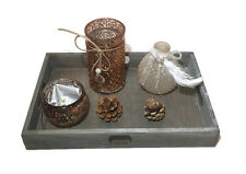 4 Piece Tealight Candle Holder Glass Set on Wooden Tray Table Centrepiece Gift
