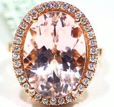 12.22CT 14K Rose Gold Natural Morganite White Diamond Vintage Engagement Ring