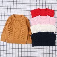 Children Baby Kids Girl Boy Knitted Sweater Cardigan O-Neck Tops Outfit Clothes