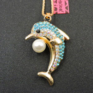 Shiny Blue Crystal Cute Pearl Dolphin Betsey Johnson Animal Pendant Necklace