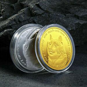 2Pcs Gold + Silver Plated Dogecoin Commemorative Coin Gift Rare Collectible btc