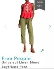 Free People Military Army Green Casual Oversize Baggy Long Pants 8/M NWT $98