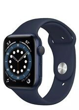 NEVER USED !!Apple Watch Series 6 44mm Blue Aluminum Case with Black Sport Band