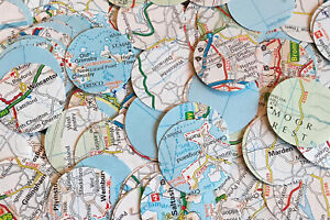 Circle Wedding Table Confetti/Decoration - UK Maps/Atlas/Paper/Vintage/Rustic