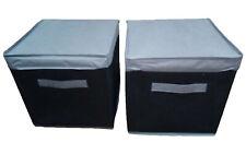 2 Paquet Pliable Rangement Carré Toile Boîte & Couvercle Agenda Tissu Cube