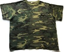 Vintage 80s T-Shirt Army Green Camo Very Thin Slightly Thrashed & Distressed Xl