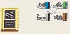 NEW ZEALAND 1979 FDC - BLDGS - COTTAGE - MISSION HOUSE - THE ELMS - COUNCIL BLDG