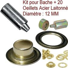 Kit 20 Œillets de Bâche + outil Matrice de Pose,Diamètre 12 mm,Jardin,Piscine ..