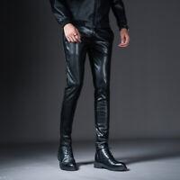 Men Real Leather  with Zipper Sheep/Lambskin Leather Biker Trouser