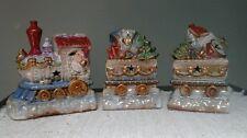 3-Piece HighGloss Ceramic CHRISTMAS TRAIN w/Star Cutouts for Lights