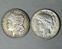 Lot of 2 VF San Francisco Mint Silver Dollars 1921-S Morgan 1922-S Peace (21218)