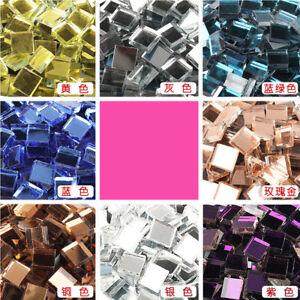 100Pcs 1x1cm Glass Mirror Mosaic Tiles Crafting Supplies Artwork DIY Accessories