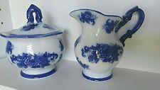 Blue & White Porcelain Collection Cream and Sugar Bowl Set Cracker Barrel EUC