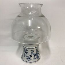 Blue Danube Japan Ceramic Candle Stick Holder Lamp With Clear Glass Globe Shade