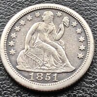 1851 O Seated Liberty Dime 10c RARE Date New Orleans High Grade XF - AU #15044