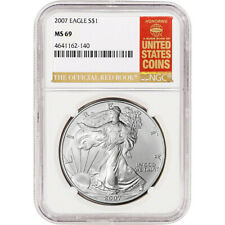 2007 American Silver Eagle - NGC MS69 - Red Book Label