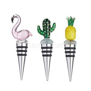 Three Tropical Bottle Stoppers - Cactus, Pineapple & Flamingo - Stocking Filler