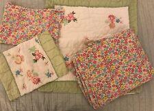 Pottery Barn Kids Madeline Embroidered Flowers Twin Bedding Set Duvet Euro Sham