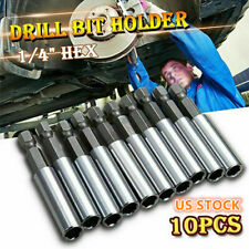 10pcs Magnetic Extension Socket Drill Bits Holder 60mm 1/4 in Hex Power Tools Us