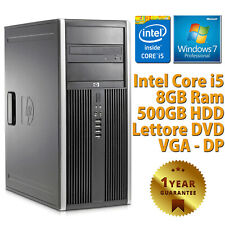 PC COMPUTER TOWER DESKTOP RICONDIZIONATO HP QUAD CORE i5 8GB 500GB WINDOWS 7 PRO