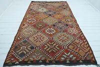 "Anatolian Mut Nomads Kilim, Wool Rug Red Orange Colored Area Rug Carpet 68""x116"""