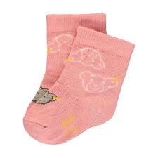 17-18 Steiff  Frottee Socke gr 74-80 weiß mit rosa Teddyköpfe