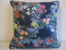 Cushion Cover Vintage Sanderson Cotton Chintz Fabric Grove blue/orange piped zip